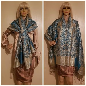 Accessories - Gold & Turquoise Shawl